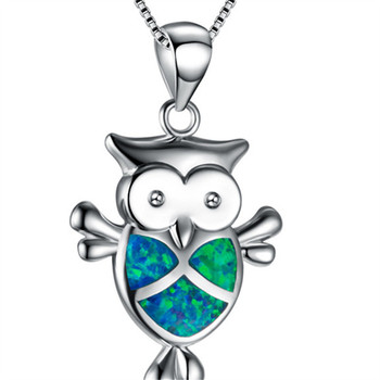 Wholesale 925 Sterling Silver Necklace Jewelry Blue Opal Animal Owl Pendant