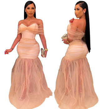 Summer Ladies Pink Evening Prom Maxi Bodycon Sexy Mesh Slim Party Elegant Women'S Cocktail Dresses Clothing