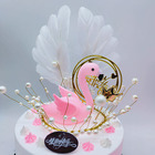 2020 Hot Baking Party Supplies White Wings Black Pink Feather Cake Plugin Birthday Cupcake Plugin Wing Feathers Cake Toppers