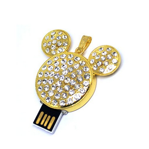 Mickey Mouse Design Necklace USB Flash Drives, Jewelry USB disk Crystal pen drive - USBSKY   USBSKY.NET