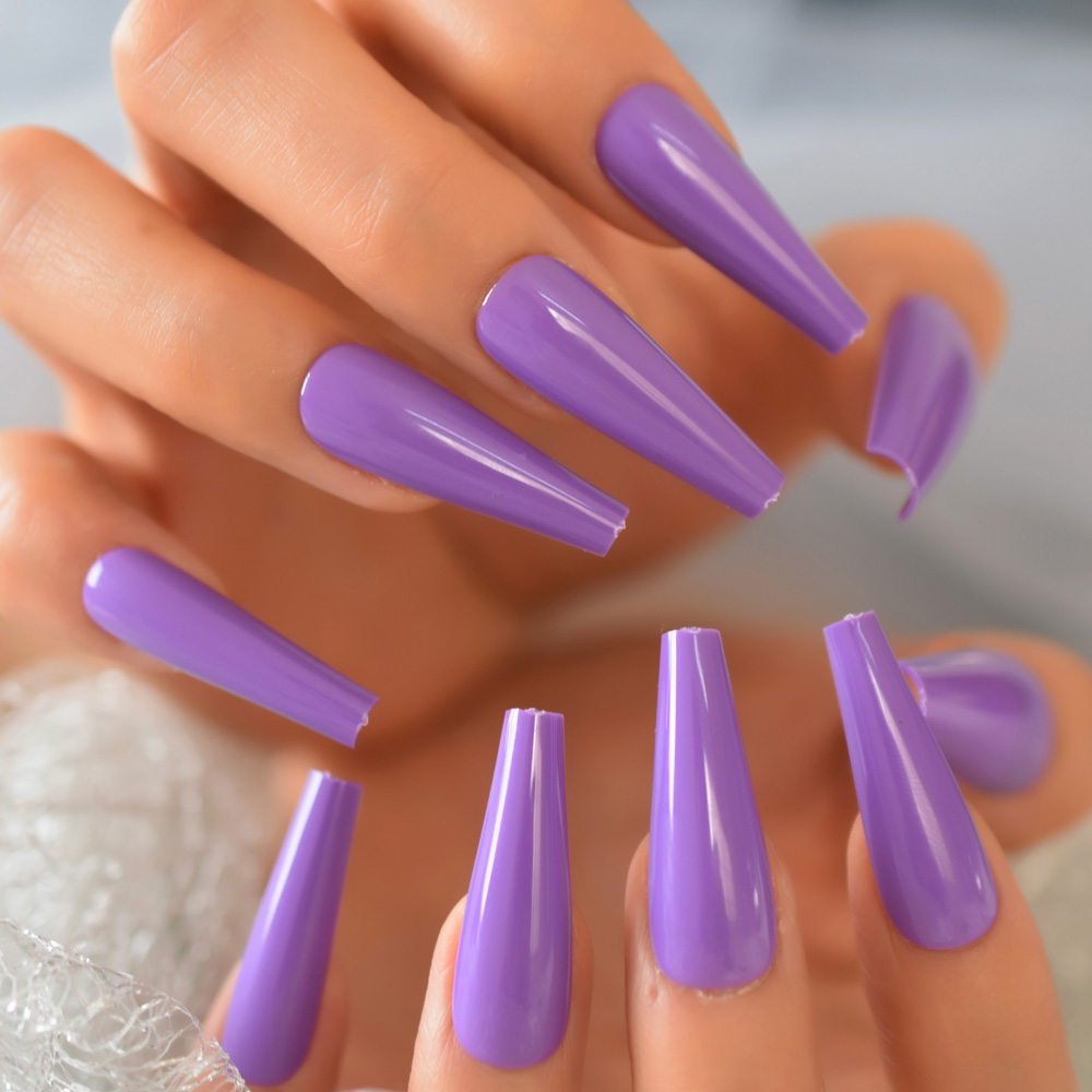 New Arrival Purple Fake Nails Art Tips Stick On Tips Extra Long Coffin Shape Press On Nail 24 pcs