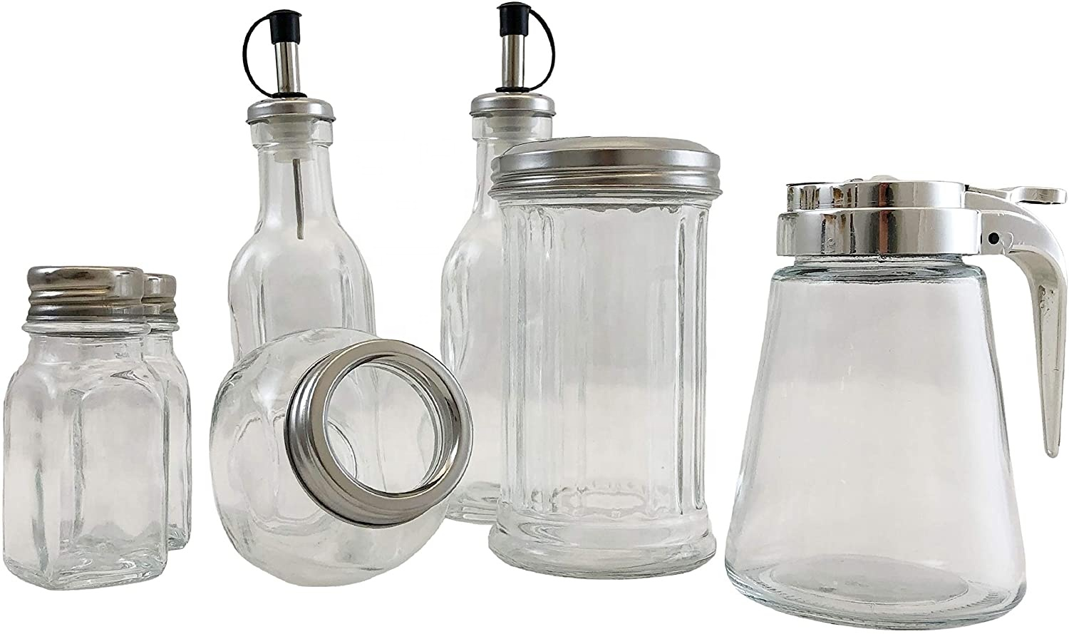 Manufacturer Retro Style Amazon Glass Sugar Dispenser Pourer Shaker canister Glass Jar with Stainless Steel Pour-Flap Lid wholes