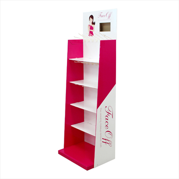 1520 MM height 4 shelves cardboard make up display stand with plastic hooks