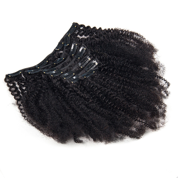 Afro Kinky Curly Clip In Human Hair Extensions 4B 4C Brazilian Remy Hair Natural Color 7Pcs/Set 120G For A Head