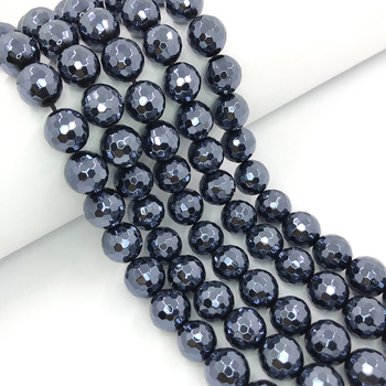 2020 Wholesale Faceted Agate Beads Black Color Plated Agate Loose Stone Beads for Jewelry Making DIY