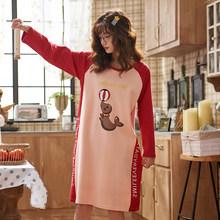 Женская ночная рубашка из хлопка, с мультяшным рисунком, сексуальное платье для сна размера плюс(Китай)