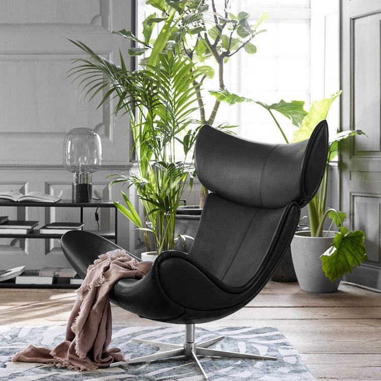 new style black pu leather  living room chair set armchair modern chaise swivel teak lounge chair