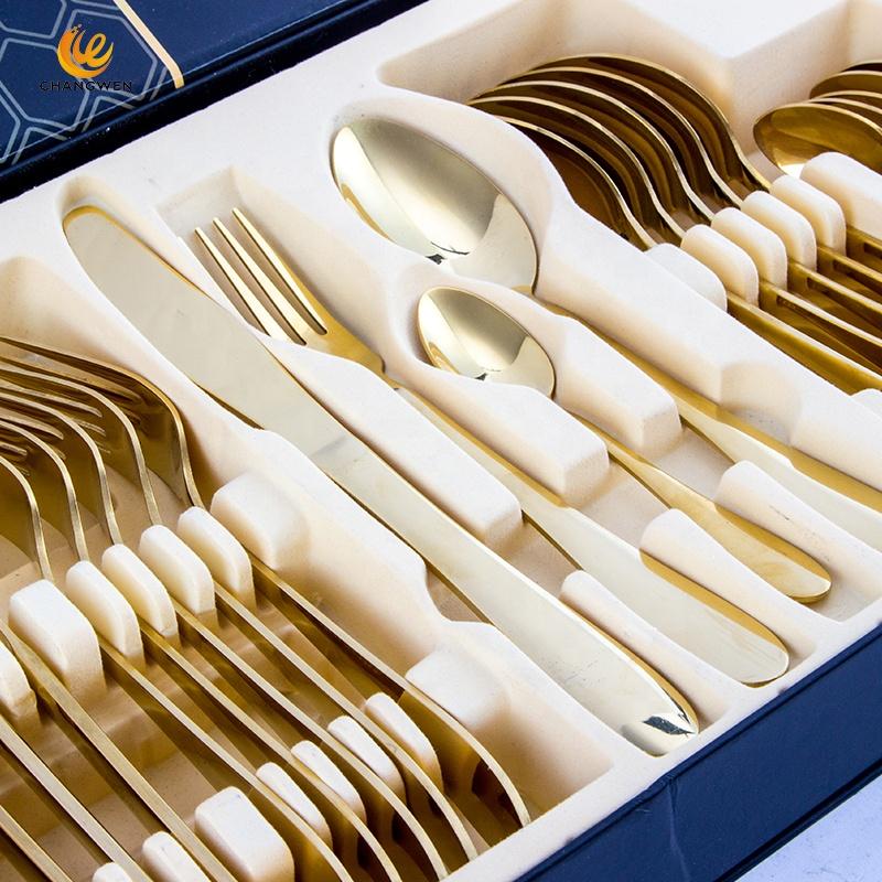 Горячая Распродажа, набор из 24 штук, роскошные золотые столовые приборы из нержавеющей стали столовые приборы посуда набор с подарочной коробкой