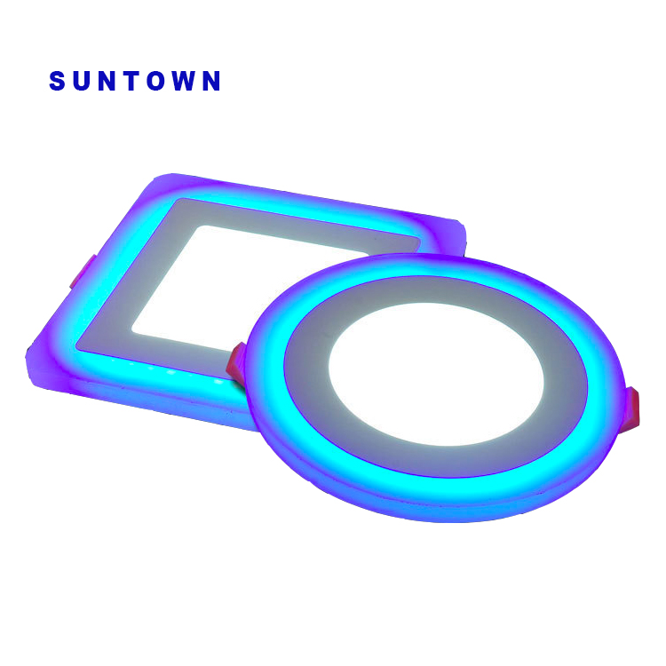 Suntown quality 6W 9W 18W 24W 36w round and square double color led panel light