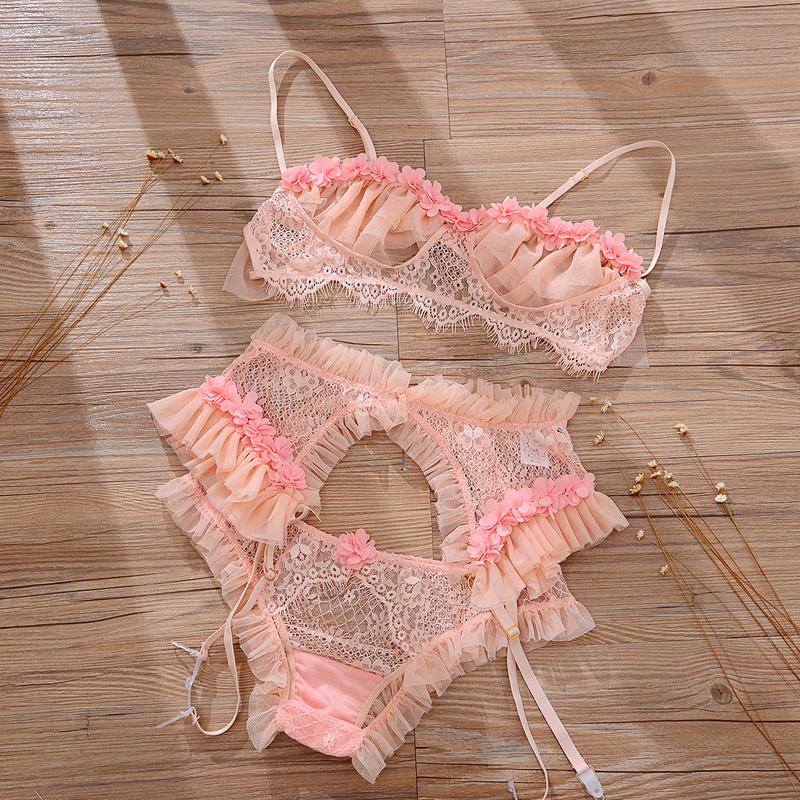 Сексуальный бюстгальтер и стринги, пижама, комплект нижнего белья с подвязками для женщин, кружевные оборки, прозрачное искушение, аппликац...(Китай)