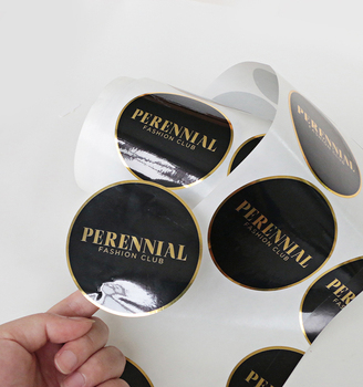 Custom brand logo black vinyl waterproof label sticker printing adhesive gold foil round stickers roll
