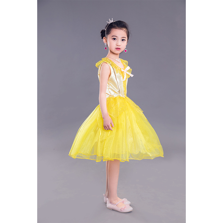 Factory direct selling Girls Dress Costume Princess Belle Costumes Kids Fancy Dress Halloween Party