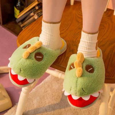 Winter Women Cute Dinosaur Animal Fur Slippers Bedroom Anti-slip Wearable Lovely Plush Slipper for Men and Women