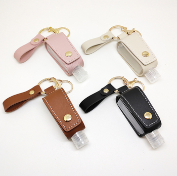 Portable Easy carry hand PU leather sanitizer holder keychain sanitizer gel bottle holder with keychain