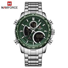 Новые Роскошные мужские часы NAVIFORCE, модные спортивные часы с хронографом, Топ бренд, кварцевые часы, полностью стальные часы с большим цифер...(Китай)