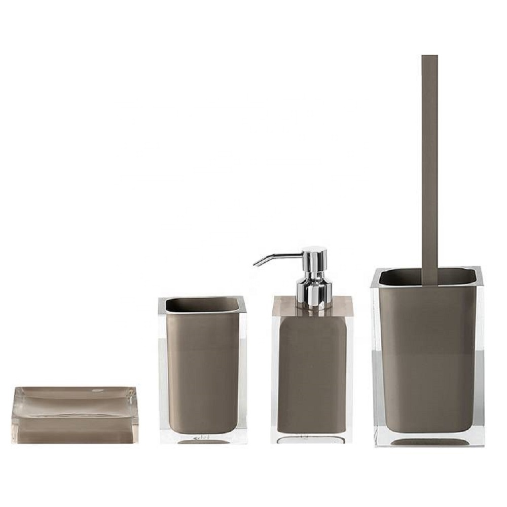 3 pieces Luxury Grey Polished Resin Bathroom Set Accessories for Hotel