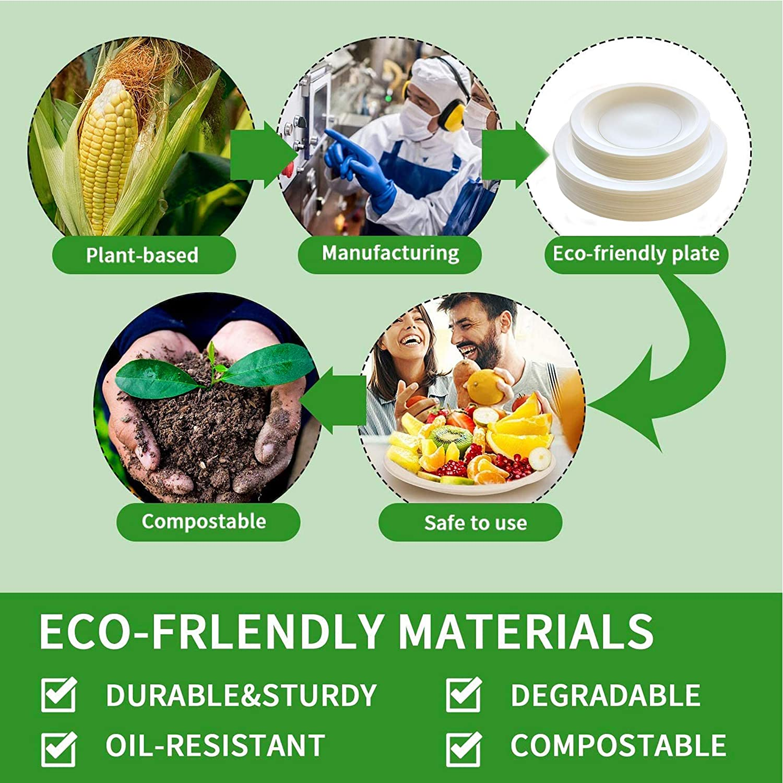 400 Pcs Biodegradable Plates & Utensils Set, Dinnerware Set with Compostable Plates Eco-Friendly Cornstarch Tableware. Sets of 5