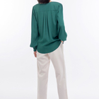 2021 new green women blouse long sleeve v neck office ladies' tops and blouse