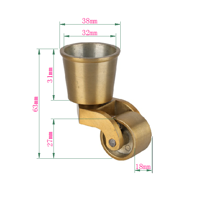 Iron stainless steel heavy duty caster wheels brass furniture caster wheels with cup