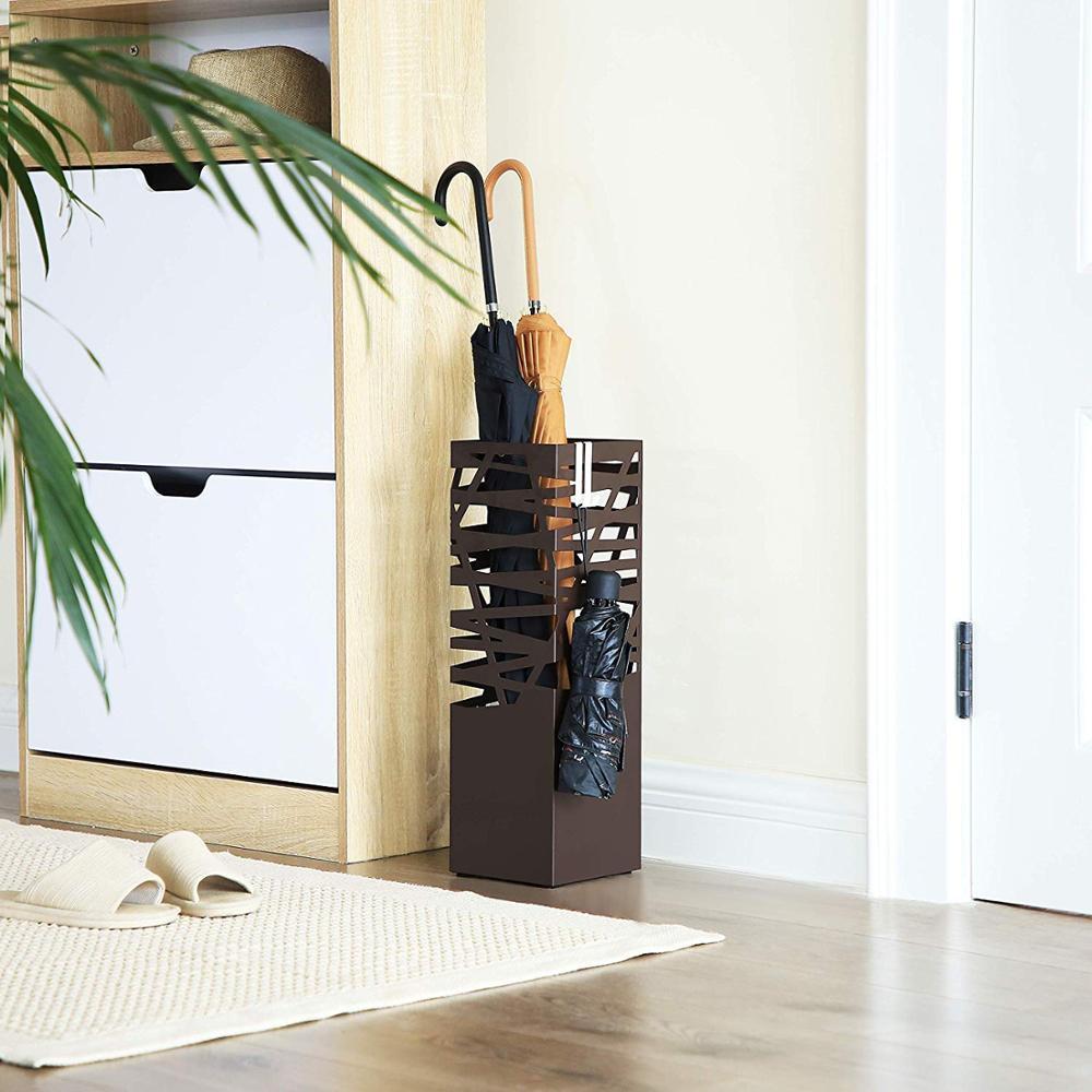 Коричневая металлическая подставка для зонта, стойка для тростей, трости, квадратный свободно стоящий держатель для зонта