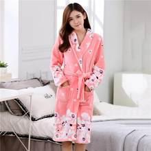 Женское банное белье, пижама из кораллового флиса, ночная рубашка, кимоно, сексуальное Фланелевое белье, белая зимняя Домашняя одежда, мягка...(Китай)