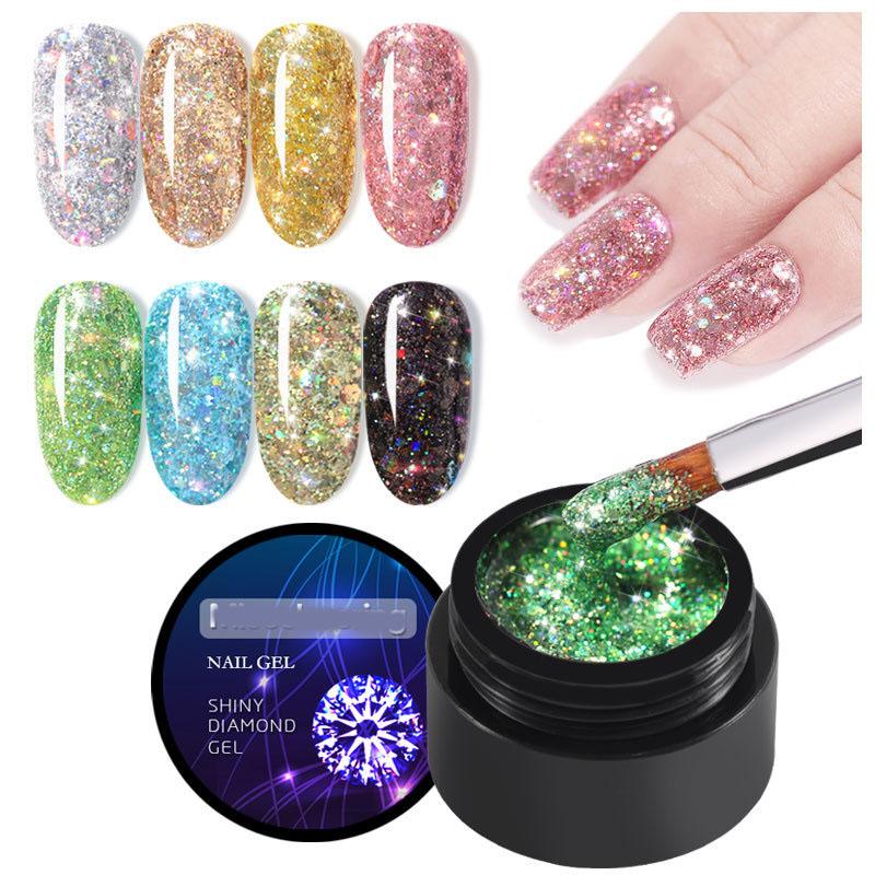 Nail Art Diamond Foil Soak Off UV Gel Laser Shiny Glitter Nail Polish For Nail Beauty