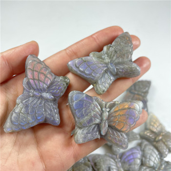 Natural Hand Carved Crystal Lovely Purple Butterfly Ornaments Crystal Carvings Purple Labradorite For Sale