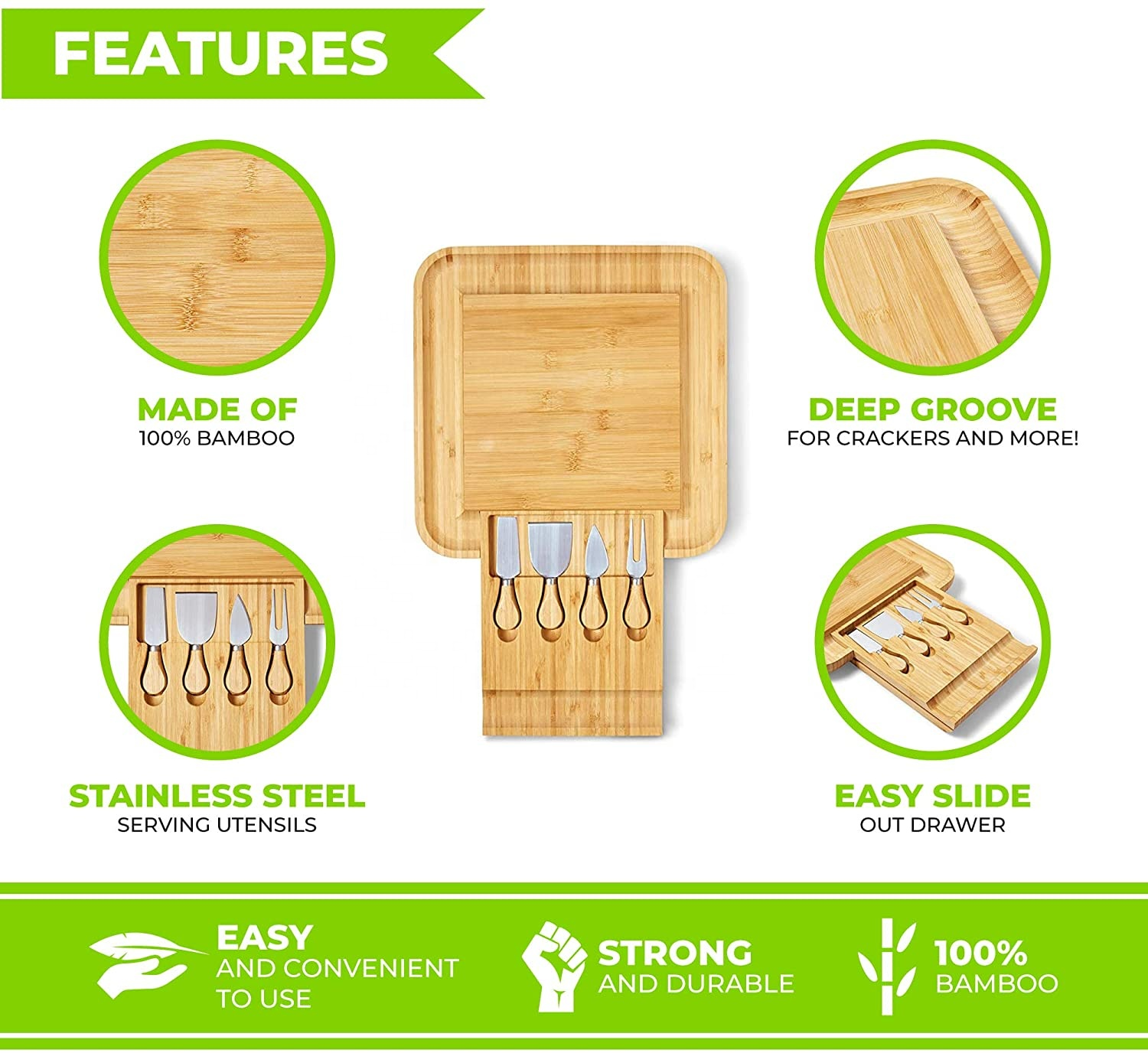 hot selling Amazon Bamboo cheese cutting board set with steel knife/fork/spatula for gift