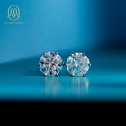 18k Gold White Diamond Jewelry Stud Earring Set 18k Gold White 1 Ct Moissanite Diamond Studs Trendy Luxury Earring Set Jewelry For Women