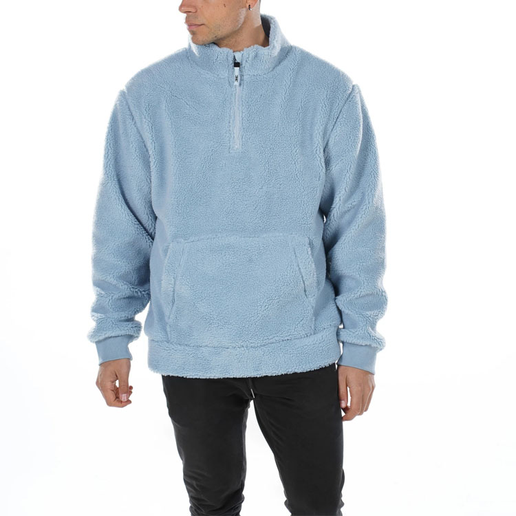 Winter mens fashion blank fleece hoodie stand collar custom logo brand wool slim fit pullover sweatshirt with half zipper man