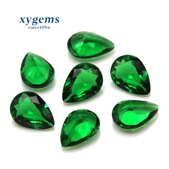 Cheap Wholesale Price green loose synthetic glass pear shaped glass gems gemstone beads