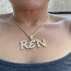 Gold letter with tennis chain