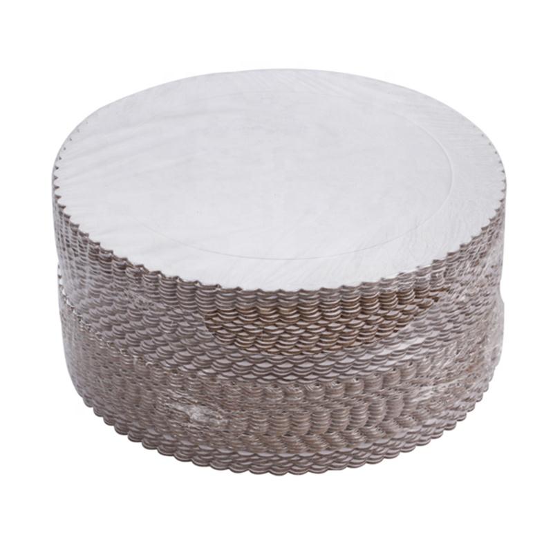 Hot sale Paperboard big size scalloped round shape foil cake board for wedding