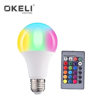 OKELI Indoor E27 3W 5W 10W 15W Smart Remote Control Dimmable RGB 16 Color Changing RGB Led Bulb