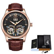Мужские часы с двойным турбийоном, синие кожаные механические часы LIGE Top Brand, Роскошные автоматические часы Montre Homme + Box, 2020(Китай)