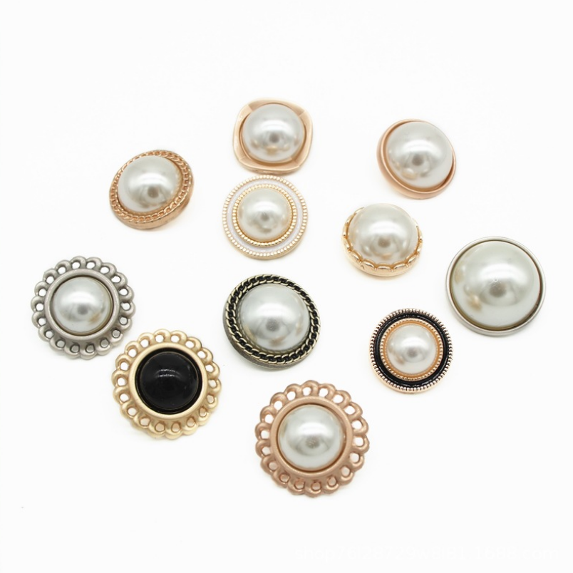 2020 New style factory direct supply fashionable plastic ABS with pearl sewing shank button for shirt