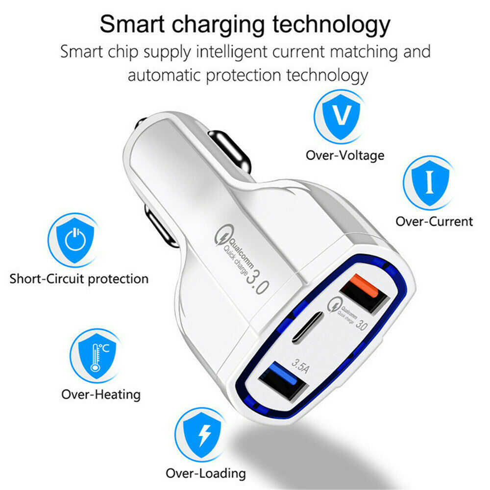 QC 3.0 USB C Car Charger 3 Ports Quick Charge 3.0 Car Phone Charging Adapter Fast Charger for iPhone Xiaomi