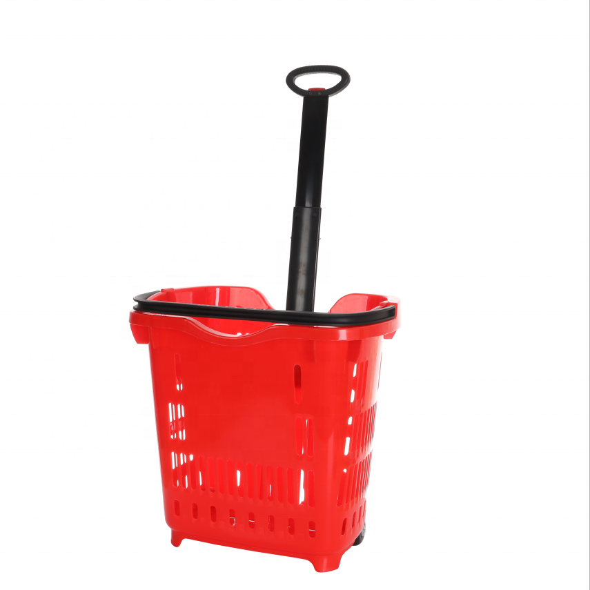 Retail Plastic Commercial Rolling Wheels Shopping Basket Trolleys with Handle