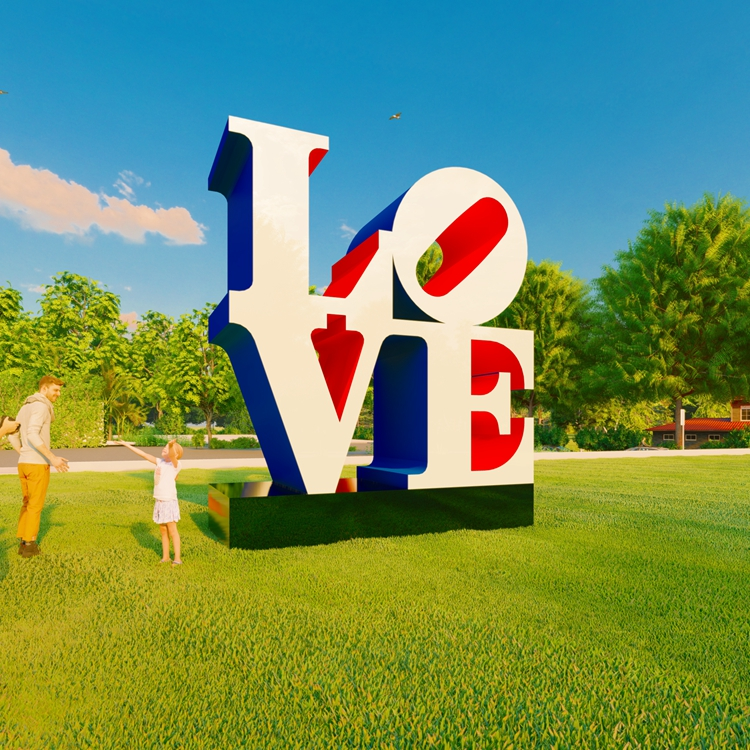 large outdoor garden metal LOVE sculpture