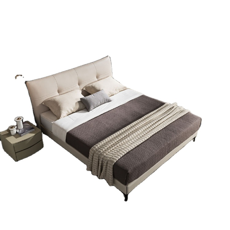 Mosiamu Italian marriage master bedroom leather  modern simple wood soft package light luxury double bed