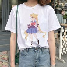 Эстетическая футболка Sailor Moon, футболка оверсайз Harajuku Graphic футболка 90s мультфильм Kawaii уличная одежда с мотивами из аниме Топ Футболка милая М...(Китай)