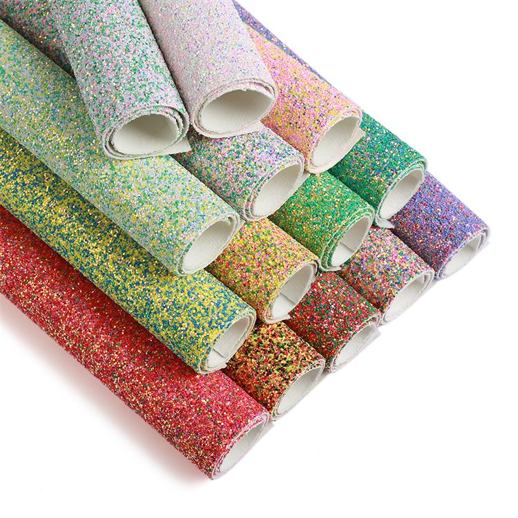 Fancy multicolored round shaped chunky glitter fabric designer, Sparkle faux leather fabric for bow making