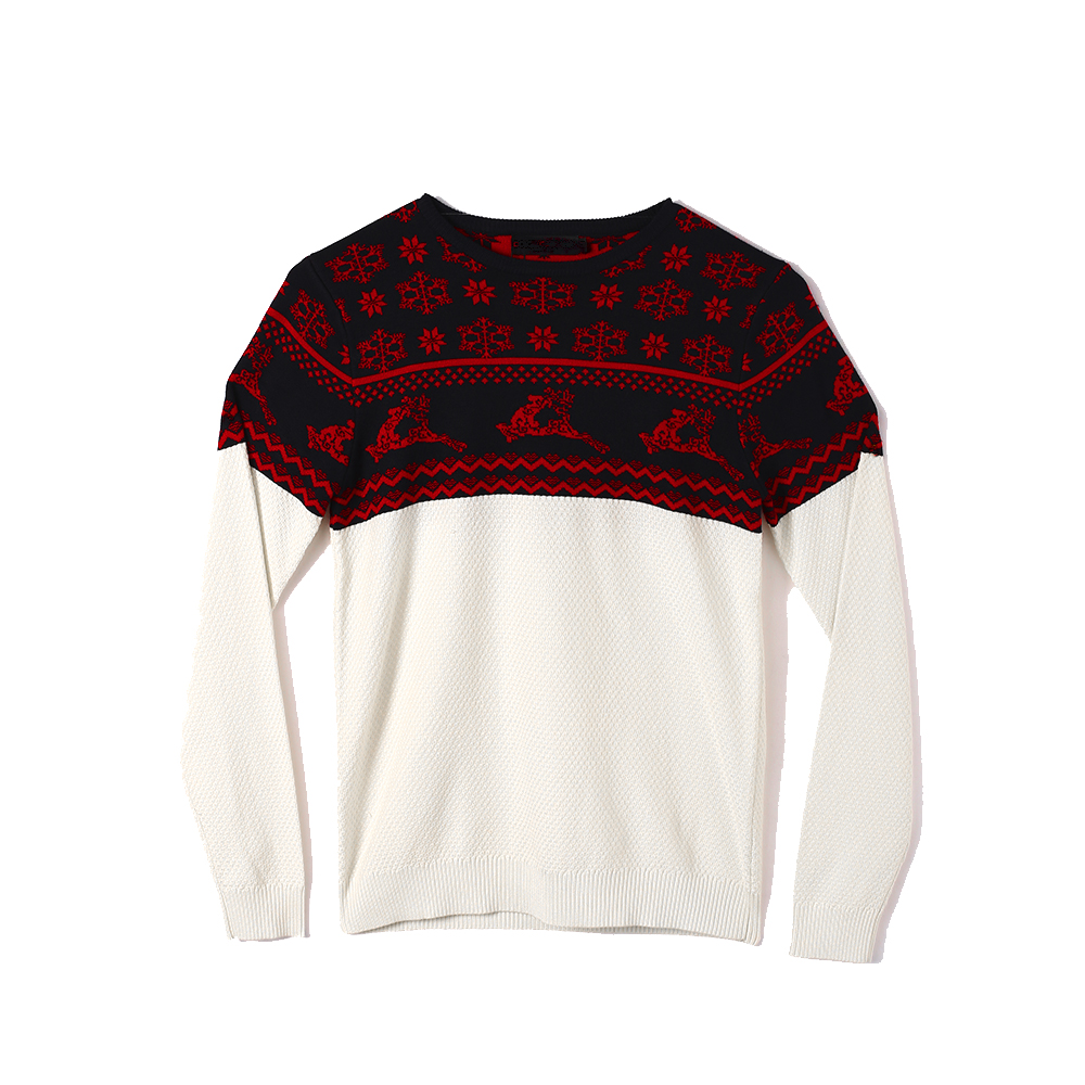 Unisex Crewneck Pullover Cotton Christmas Jacquard Knitted Sweater