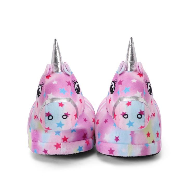 Hot Sale Cute Cozy Indoor Bedroom Woman Slipper Rainbow Unicorn Plush Slippers