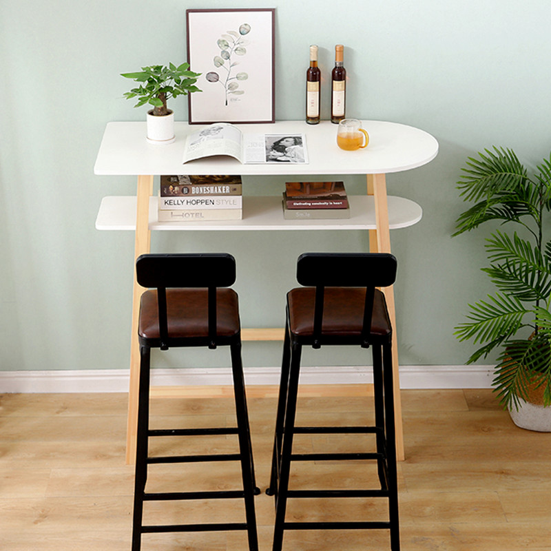 New design fashionable long high industrial modern restaurant kitchen wood slab bar table