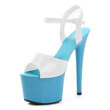 Женские туфли для зачистки каблуков, летние сандалии на платформе и высоком тонком каблуке 15 см, разноцветные пикантные водонепроницаемые ...(Китай)