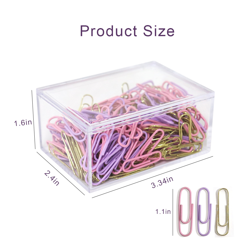 Logo customized purple/pink/gold plastic coated 28mm paper clip