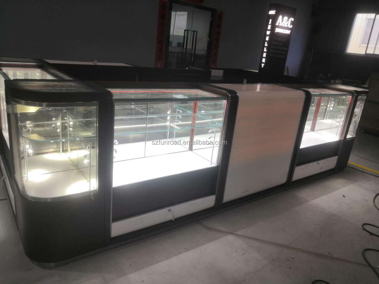 Custom design modern Glass and wooden jewelry display kiosk with rolling door