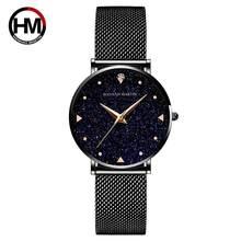Японские кварцевые часы из нержавеющей стали с сетчатым ремешком, золотые женские наручные часы со вспышкой и звездами, новые часы для женщ...(Китай)