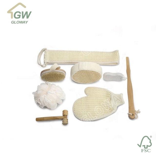 BSCI Supplier FSC Certificated Bath Brush & Loofah Sponge Massager Tool Spa Kit Bath Gift Set for Women